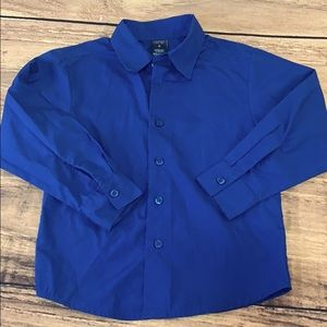 Little Boys navy blue button down formal shirt top